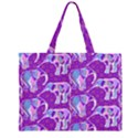 Cute Violet Elephants Pattern Large Tote Bag View2