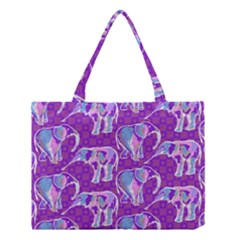 Cute Violet Elephants Pattern Medium Tote Bag