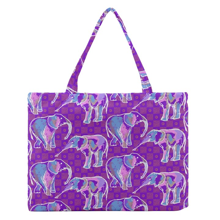 Cute Violet Elephants Pattern Medium Zipper Tote Bag