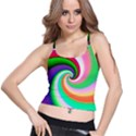 Colorful Spiral Dragon Scales   Spaghetti Strap Bra Top View1