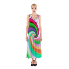 Colorful Spiral Dragon Scales   Sleeveless Maxi Dress