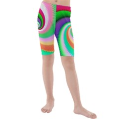 Colorful Spiral Dragon Scales   Kids  Mid Length Swim Shorts