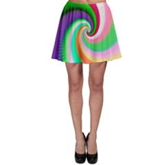 Colorful Spiral Dragon Scales   Skater Skirt