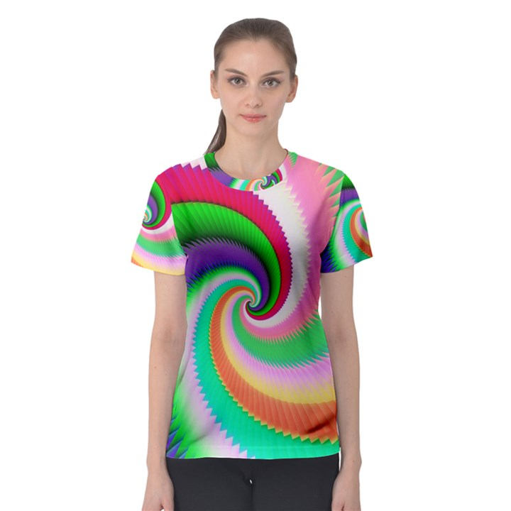 Colorful Spiral Dragon Scales   Women s Sport Mesh Tee