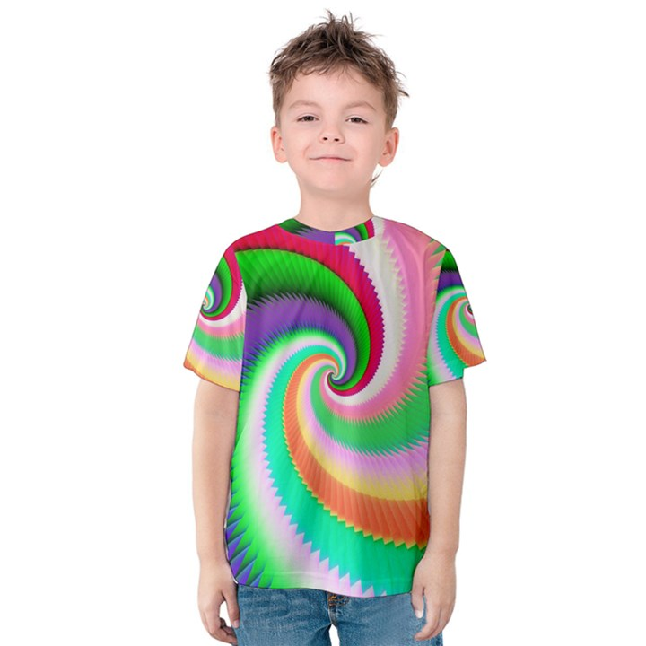 Colorful Spiral Dragon Scales   Kids  Cotton Tee