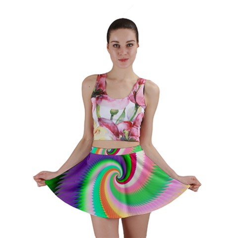 Colorful Spiral Dragon Scales   Mini Skirt