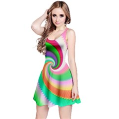 Colorful Spiral Dragon Scales   Reversible Sleeveless Dress