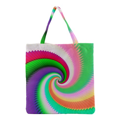 Colorful Spiral Dragon Scales   Grocery Tote Bag