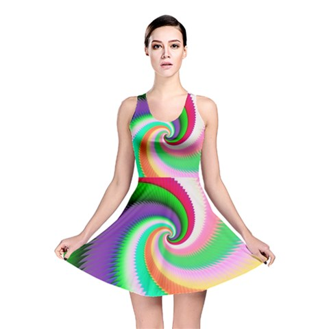 Colorful Spiral Dragon Scales   Reversible Skater Dress