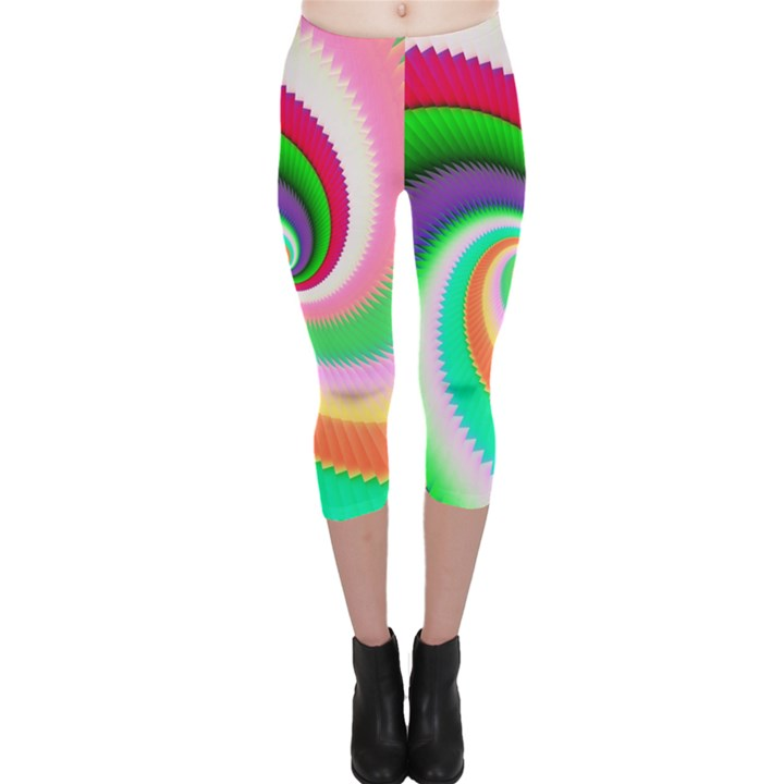 Colorful Spiral Dragon Scales   Capri Leggings