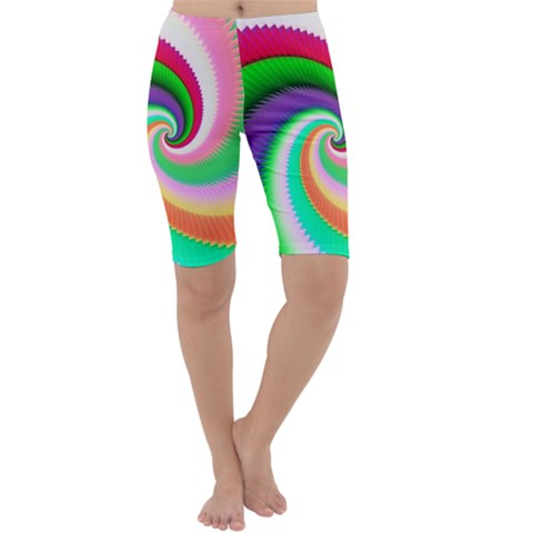 Colorful Spiral Dragon Scales   Cropped Leggings