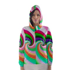 Colorful Spiral Dragon Scales   Hooded Wind Breaker (Women)