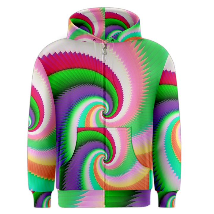 Colorful Spiral Dragon Scales   Men s Zipper Hoodie