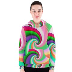 Colorful Spiral Dragon Scales   Women s Zipper Hoodie