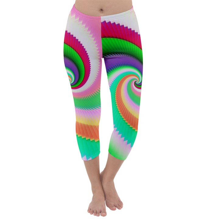 Colorful Spiral Dragon Scales   Capri Winter Leggings