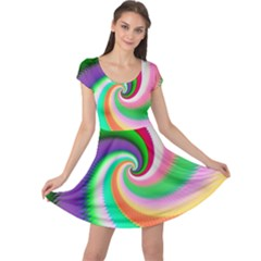 Colorful Spiral Dragon Scales   Cap Sleeve Dresses