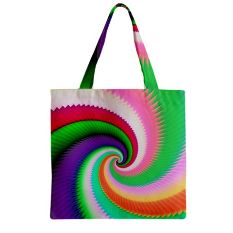 Colorful Spiral Dragon Scales   Zipper Grocery Tote Bag