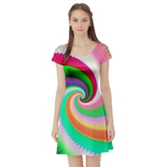 Colorful Spiral Dragon Scales   Short Sleeve Skater Dress