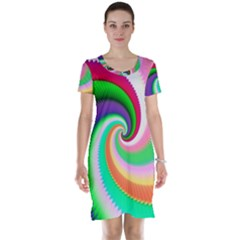 Colorful Spiral Dragon Scales   Short Sleeve Nightdress