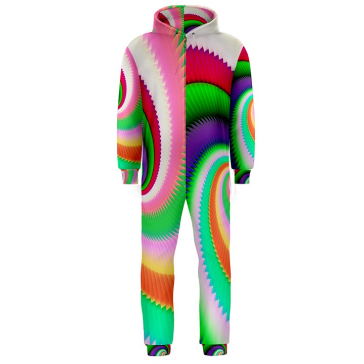 Colorful Spiral Dragon Scales   Hooded Jumpsuit (Men)