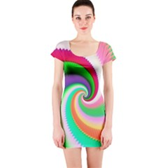 Colorful Spiral Dragon Scales   Short Sleeve Bodycon Dress