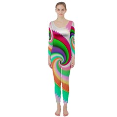 Colorful Spiral Dragon Scales   Long Sleeve Catsuit