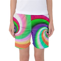 Colorful Spiral Dragon Scales   Women s Basketball Shorts
