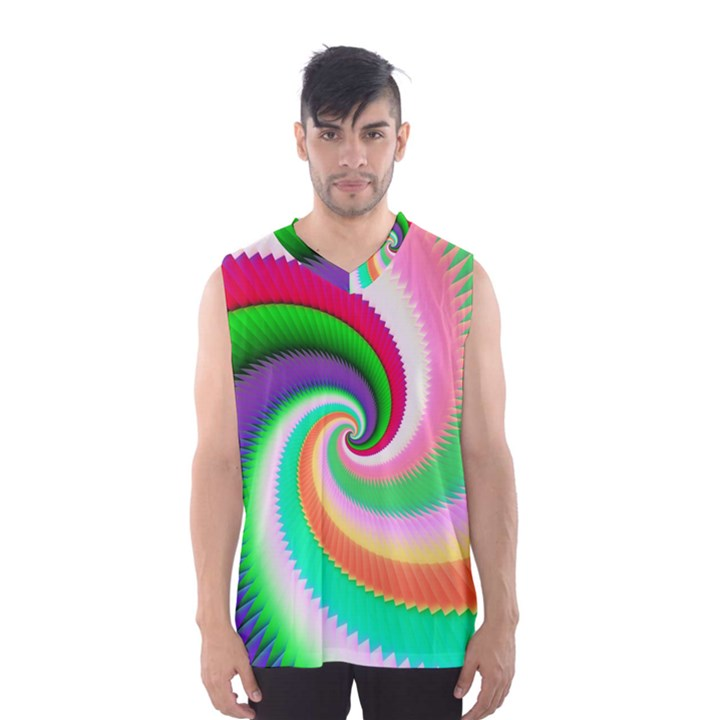 Colorful Spiral Dragon Scales   Men s Basketball Tank Top