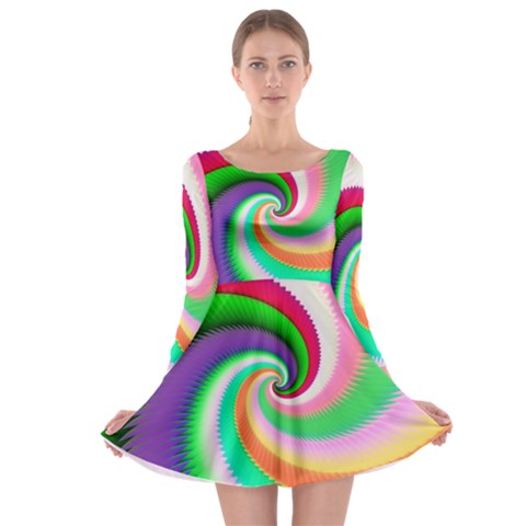 Colorful Spiral Dragon Scales   Long Sleeve Skater Dress