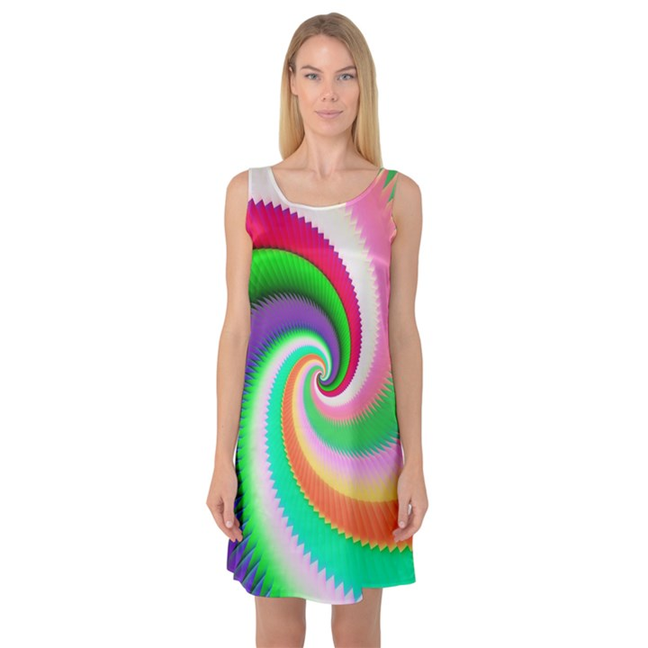 Colorful Spiral Dragon Scales   Sleeveless Satin Nightdress