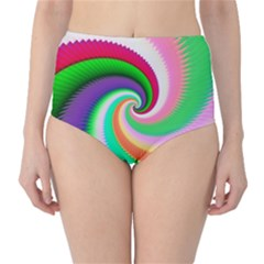 Colorful Spiral Dragon Scales   High-Waist Bikini Bottoms
