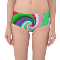 Colorful Spiral Dragon Scales   Mid-Waist Bikini Bottoms