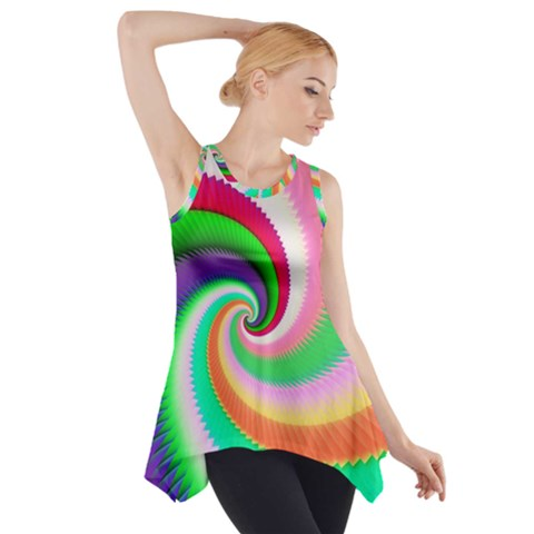 Colorful Spiral Dragon Scales   Side Drop Tank Tunic