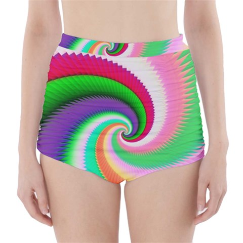 Colorful Spiral Dragon Scales   High-Waisted Bikini Bottoms