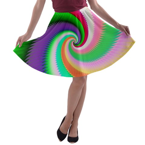 Colorful Spiral Dragon Scales   A-line Skater Skirt