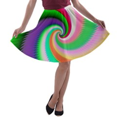 Colorful Spiral Dragon Scales   A Line Skater Skirt