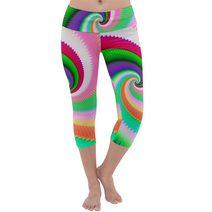 Colorful Spiral Dragon Scales   Capri Yoga Leggings