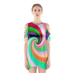 Colorful Spiral Dragon Scales   Cutout Shoulder Dress