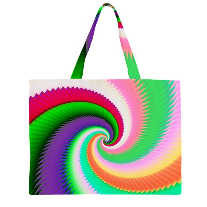 Colorful Spiral Dragon Scales   Large Tote Bag