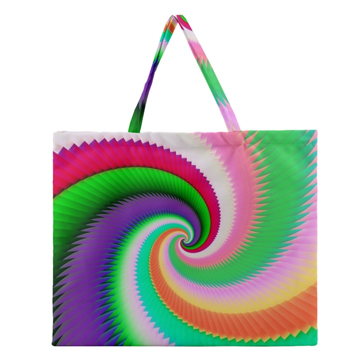 Colorful Spiral Dragon Scales   Zipper Large Tote Bag