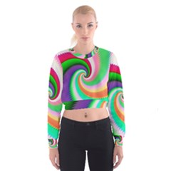 Colorful Spiral Dragon Scales   Women s Cropped Sweatshirt