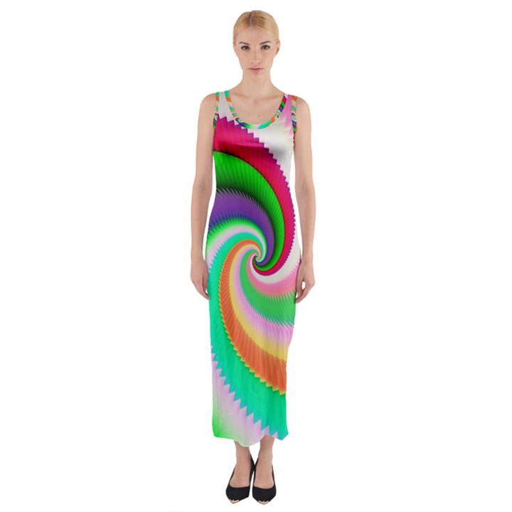 Colorful Spiral Dragon Scales   Fitted Maxi Dress