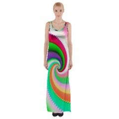 Colorful Spiral Dragon Scales   Maxi Thigh Split Dress