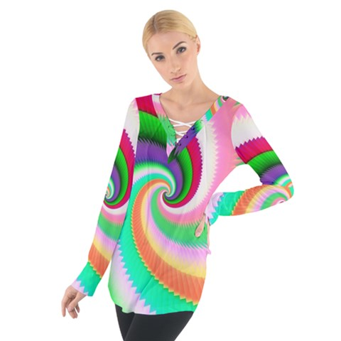 Colorful Spiral Dragon Scales   Women s Tie Up Tee