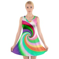 Colorful Spiral Dragon Scales   V Neck Sleeveless Skater Dress