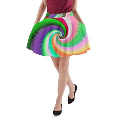 Colorful Spiral Dragon Scales   A-Line Pocket Skirt