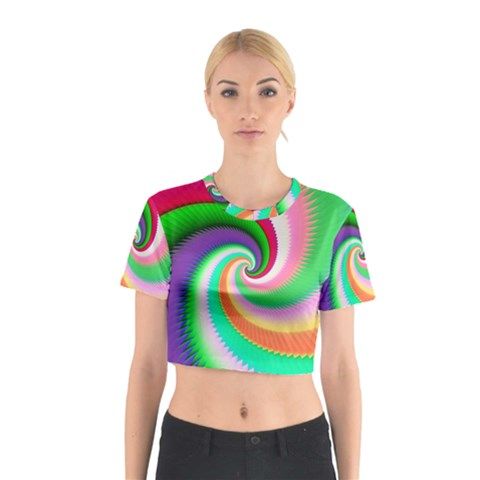 Colorful Spiral Dragon Scales   Cotton Crop Top
