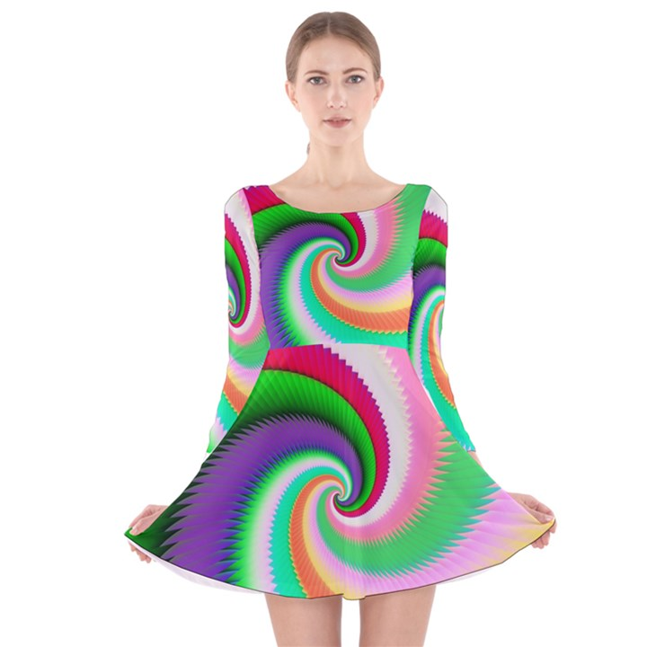Colorful Spiral Dragon Scales   Long Sleeve Velvet Skater Dress
