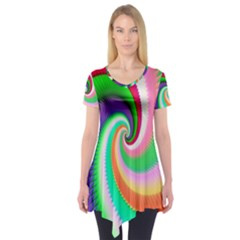 Colorful Spiral Dragon Scales   Short Sleeve Tunic
