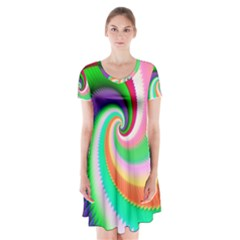 Colorful Spiral Dragon Scales   Short Sleeve V Neck Flare Dress